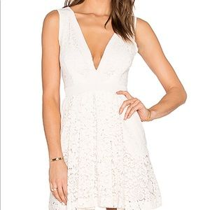 Free People Lovely in Lace cream color mini dress
